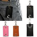 Genuine Leather Key Holder Wallet Slim Compact Key Case Pouch With Six Key Hooks