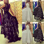 Womens Floral Lace Long Maxi Dress Sleeveless Evening Party Cocktail Ball Gown
