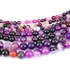 1Bunch Natural Purple Striped Agate Round Gemstone Loose Spacer Beads 4-12MM