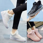 WHITE BLACK PINK LEATHER SHOES WOMEN LADIES FASHION SNEAKERS FLATS WINTER WARM