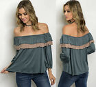 Women's Peasant Off the Shoulder Ruffled Boho Flowy Bishop Jersey Top tee Blouse