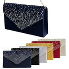 Fashion Sparkling Rhinestone Satin Frosted Evening Bag Handbag Clutch Purse