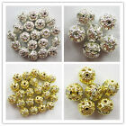 Silver Plated/gold Ball shape rhinestone crystal spacer beads 50pcs x8202