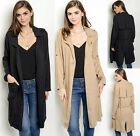 Belted Soft lightweight Open Front Longline Duster Cover Long Trench Coat Jacket