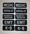 2 Glow In Dark Small Sew-On Embroidered Patches-EMT K-9 SEARCH MEDIC 1 1/4 x 3""