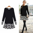 Autumn Winter Women Long Sleeve Loose Casual Tops Party Sweater Mini Shirt Dress
