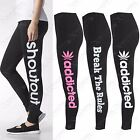 WOMENS FITNESS ADDICTED LIKE A BOSS LEGGING BREAK THE RULES FIT LADIES GYM PANTS