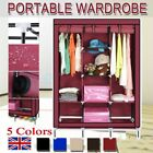TRIPLE FABRIC CANVAS CLOTHES WARDROBE WITH HANGING RAIL SHELVING HOME STORAGE