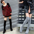 Womens Knitting Over Knee High Boots Pull On Suede Flat Heel Winter Snow Shoes