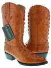 Men's Cognac Full Exotic Crocodile Ostrich Tail Western Pullon Cowboy Boots