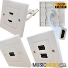 HDMI Twin Dual or Single Faceplate Face Plate Wall Socket 2 Port 1 Port Flylead