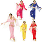 New WOMENS BELLY DANCE BELLYDANCE COSTUME SET PANTS & VEIL 5 COLORS