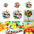 100pcs Assorted Fluffy Pom Poms Childrens DIY Crafts Pompoms Ball 10-30mm New