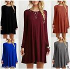 New Women Casual Cewneck Long Sleeve Dress Solid Color Loose Slim Dress