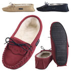 Lambland Ladies Suede Moccasin Slippers with Lambswool Lining and Hard Sole