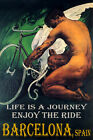 BARCELONA CYCLING MAN BICYCLE WINGS ENJOY BIKE RIDE LGBT VINTAGE POSTER REPRO