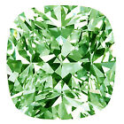 6.12 ct (I2)ICE WHITE GREEN LOOSE CUSHION REAL MOISSANITE for ring