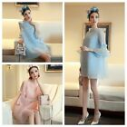 Women's Summer Pure Flare Sleeve Bowknot Loose Casual Lace Mini Dress Princess