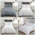 Luxury Duvet Quilt Bedding Bed Set And Pillowcases Pintuck Trim White Grey Cream