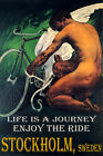 STOCKHOLM SWEDEN CYCLING BICYCLE WINGS ENJOY BIKE RIDE LGBT VINTAGE POSTER REPRO