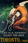 TORONTO CANADA CYCLING BICYCLE WINGS ENJOY BIKE RIDE LGBT VINTAGE POSTER REPRO