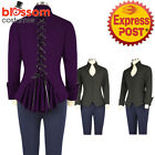 RK125 Victorian Gothic Vintage Pin Up Lace Up Rockabilly Top Blouse Retro 50s