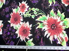 Discount Fabric Printed Lycra Spandex Stretch Bold Floral Pink and Black 300C