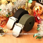 1pc Casual Mens Alloy Slider Buckle Military Cool Long Weave Canvas Belt Gift