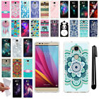 For Huawei Honor 5X Various Design TPU SILICONE Soft Protective Case Cover + Pen