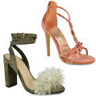 Womens Ladies High Heel Ankle Strappy Party Sandals Faux Fur Shoes Size 3-8 Sale