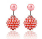 1 Pair Candy Color Ear Clips Round Pearl Earings Crystal Stud Earring Jewelry