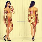 Womens Bodycon Bandage Two Piece Long Sleeve Crop Top + Skirt Dress Set N98B