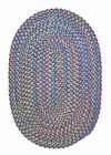 Tropical Garden Oval Braided Rug, Oasis Blue ~ Made in USA