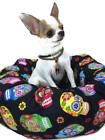 Round Pet Bed Sugar Skulls Novelty Handcrafted Group One Dog Gallery Washable