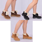 Womens Ladies Ankle Boot Combat Flat Grip Faux Fur Lined Autumn Winter Shoe Size