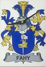 Your COAT OF ARMS Crest on stylish Wooden CLOCK - GREENE to HAGAN