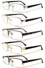 Man Metal Frame Semi Rimless Clear Lens Reading Vision Glasses - 5 Color RE34