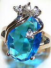 Fashion Sky-blue Cubic Zirconia White Gold Plated Crystal Ring Size: 6.7.8.9