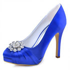 Royal Blue Closed Toe Platform High Heel Rhinestones Satin Evening Party Shoes