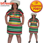 CSW46 Mexican Poncho Green Yellow Plus Costume Fancy Dress Up Wild West Fiesta