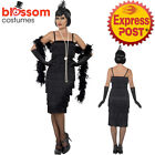 CA161 Black Long Flapper Women 1920s Roaring 20s Plus Costume Charleston Gatsby
