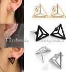 Pair Chic Mens Womens Geometric Cone Triangle Ear Stud Earrings Jewelry 3 Colors