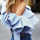 Women Summer Loose Casual Cotton Off Shoulder Shirt Tops Blouse Ladies Top 6-12