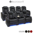 Seatcraft Delta Leather Home Theater Seating Power Recline Row of 3 and Row of 4
