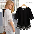 Fashion Women Summer Top short Sleeve Blouse Casual Tank Tops T-Shirt Lace New