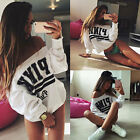 Women Off Shoulder Hoodie Long Sleeve Printed Pullover Jumper Hoody Tops Sweater