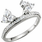Diamond Accented Wrap-Style Enhancer Guard For Solitaire Engagement Ring 14K Wg