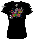 New Bling Rhinestones Neon Happy Easter Eggs T-shirt Ripped Slit Cut Out S~4XL