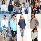 Fashion Womens Off Shoulder Casual Loose Long Sleeve T-Shirt Tops Blouse Shirts
