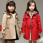 Baby Girls Kids Children Clothes Winter Hooded Trench Coat Jacket Outerwear N98B